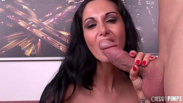 Pre boob job Ava Addams has milf sex with a muscular stud
