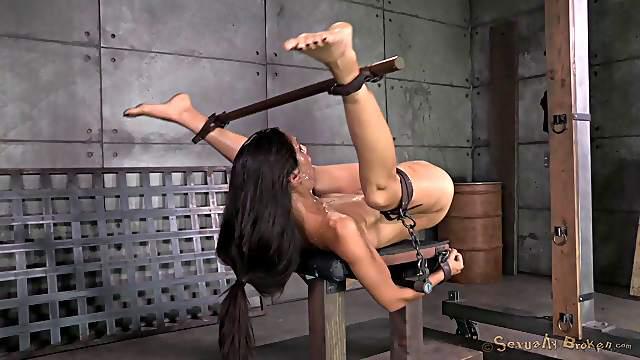 Cute bondage slave getting nasty facial cumshot in BDSM