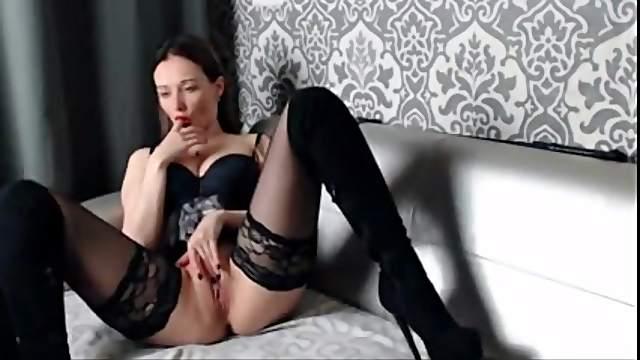 Russian model in stockings fingering hard on webcam