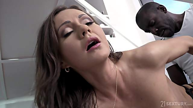 Hardcore anal fuck with Tina Kay in underwear and a big black dick