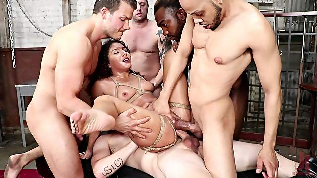 Curvy slave babe Liv Revamped let out of her cage for a hard gangbang