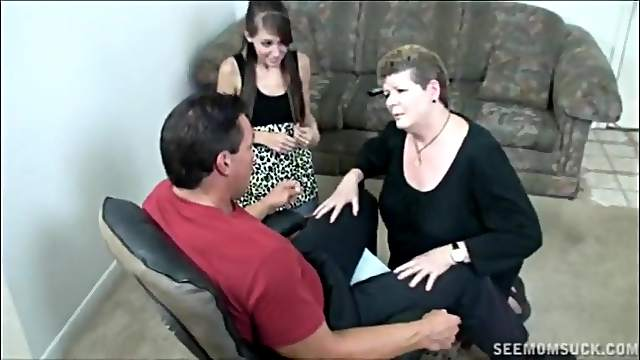 Shy brunette girlfriend takes lessons about dick sucking from a mature