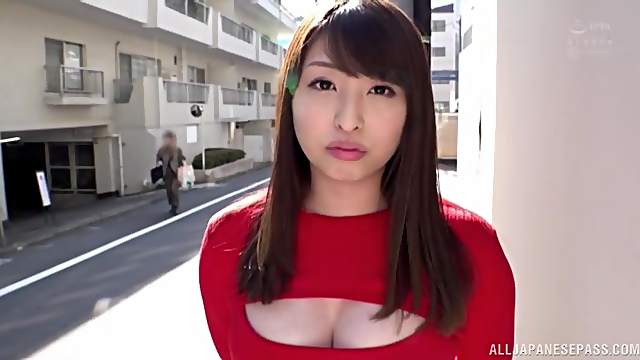 Japanese hottie Akiyama Shouko enjoys flashing her nice tits