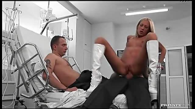 Leggy nurse in sexy boots anal fucking two patients