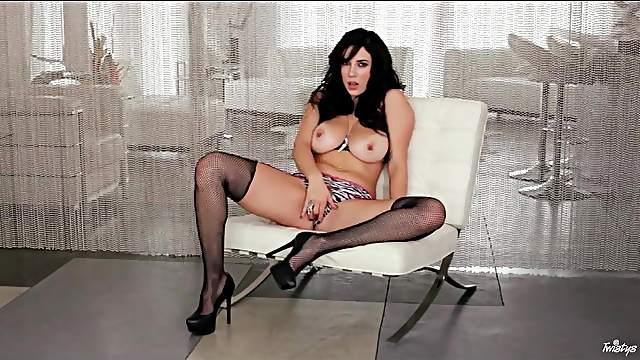 Skimpy leather vest on pornstar Jelena Jensen