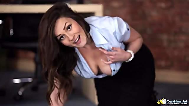 Braless secretary has stunning big tits to stare at