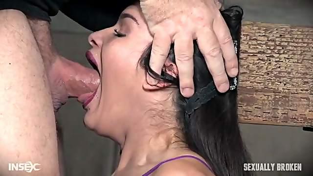 Teen BDSM slut deepthroats his entire dick