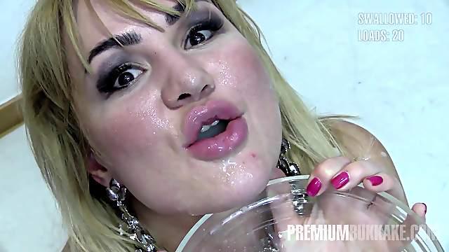 Premium Bukkake - Alina swallows 65 huge mouthful cum loads 2