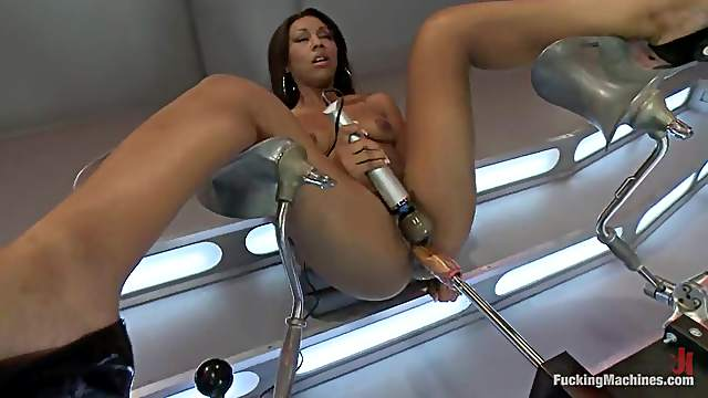 Smoking hot ebony lust gets balled in ass by a machine