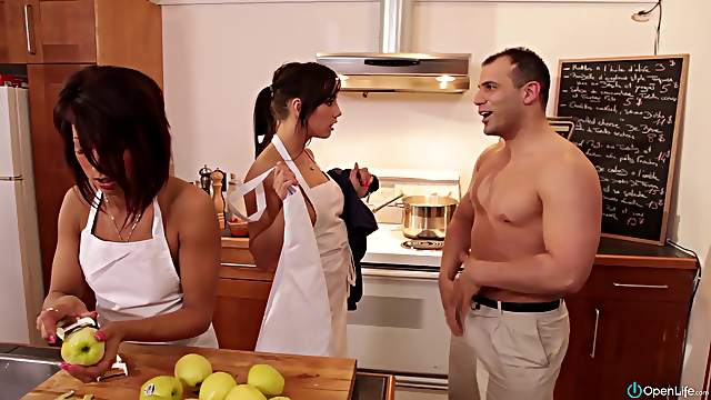 Charming brunettes strip and wear chef outfits in reality kitchen shoot