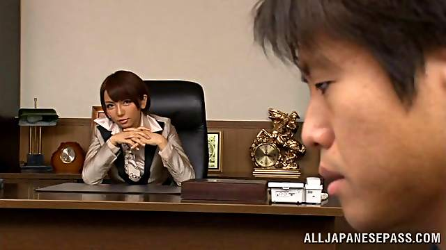 Naughty Japanese babe in stockings getting hammered hardcore in the office