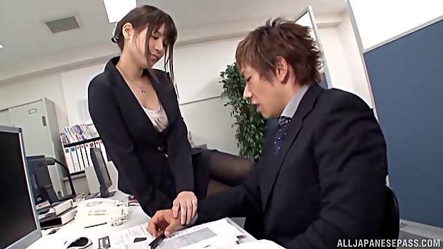 Well dressed Japanese secretary fucks her boss
