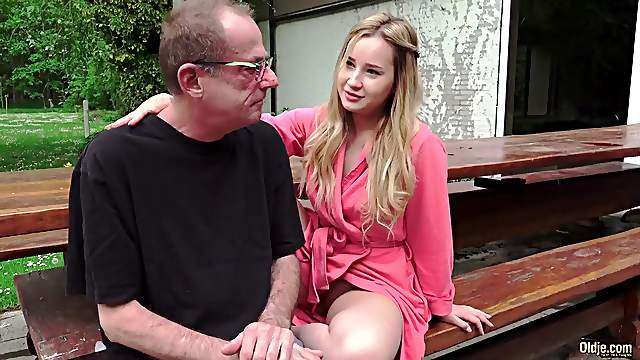 A Russian Blonde Lick the Ass of an Old Bone
