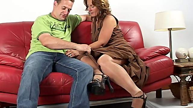 Horny matured dame riding big cock hardcore on sofa