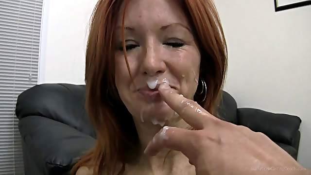 Redhead Dani getting facial cumshot in pov casting
