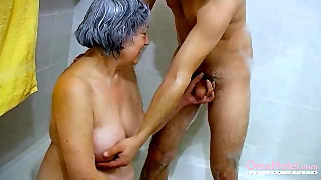 Hairy granny visited by lusty couple enjoying toys masturbation threesome