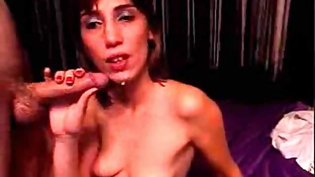 Pretty bulgarian girl take a big facial after a deep blowjob
