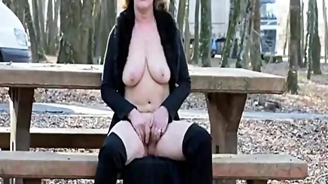 French granny flash in public