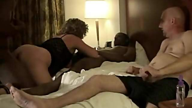 Cuckold watches two blacks fuck his wife