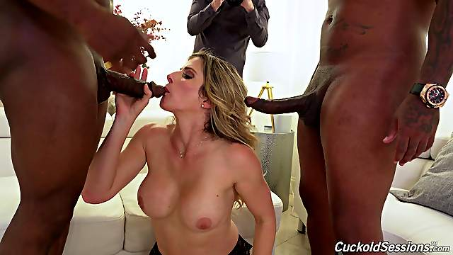 Interracial MMF 3-way with cheating trophy wife Cory Chase