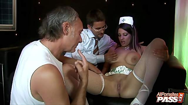 Hardcore MMF threesome with stunning stripper Katie Weale