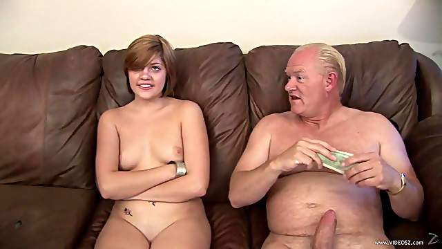 Sexy babe with nice juggs gets hammered by old man till orgasm