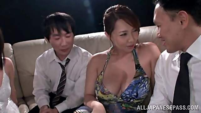 japanese milf in fishnet gets drunk and pinned in group sex