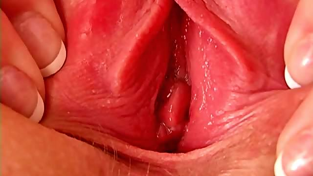 Close up shot of sexy Alison Angel spreading her pink pussy open