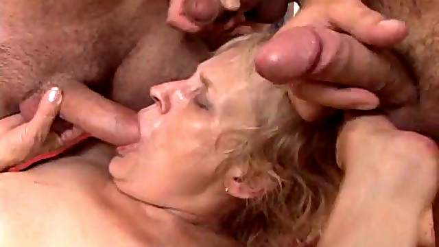 A wild granny takes on every guy in the room and loves it