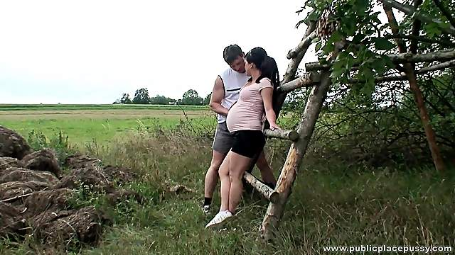 Pregnant woman Kristina N enjoys to be fucked from behind in outdoors