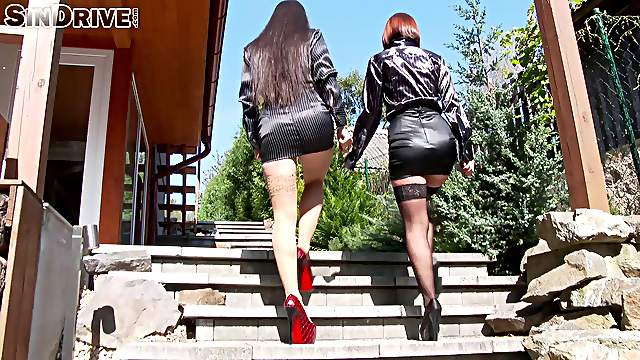 Nasty threesome with clothed babes Tina Hot and Mira Cuckold