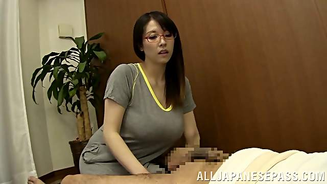 An old Japanese guy sucks Mio Saliragi's tits and squeezes out milk