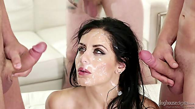 Pretty faces of European girls painted with hot cumshots