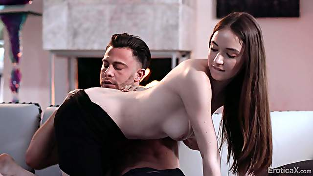 Sensual lovemaking ends with cum on ass of sexy Hazel Moore