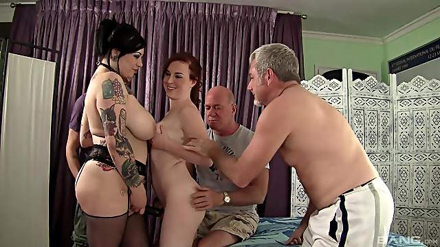 Wild group sex with dirty sluts Mattie Borders and Scarlet Lavey