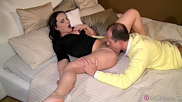 Horny brunette wife Wendy Moon moans while getting fucked