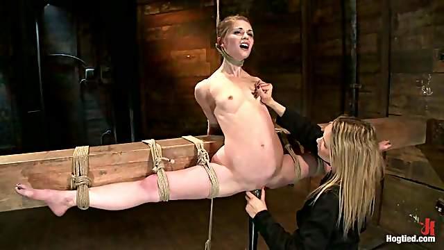 Flexible cutie Sensi Pearl gets tormented in a basement