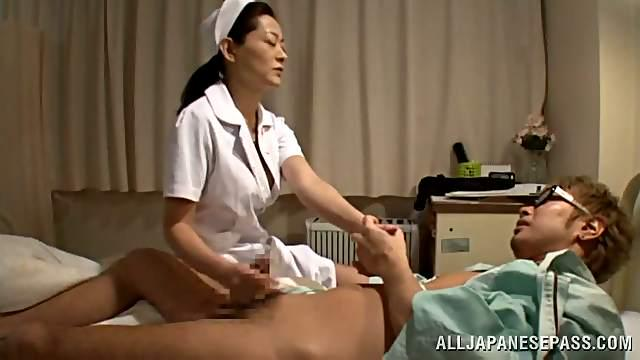 Japanese nurse takes a wild ride on a patient's dick