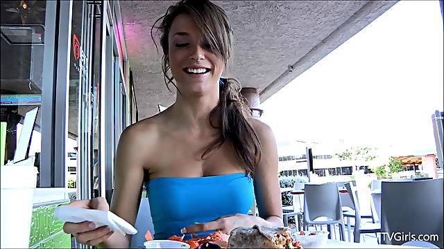 Skinny babe with long dark hair flashing her big beautiful tits in public