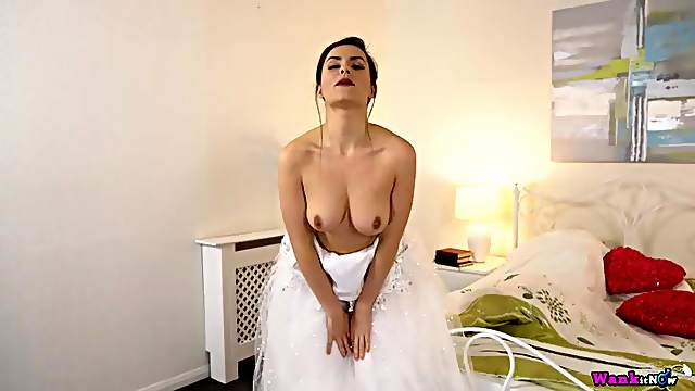 Beautiful bride gives JOI as she strips erotically