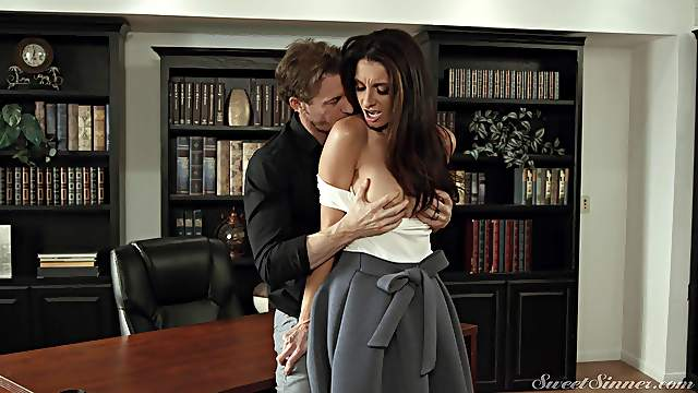 Best office sex for brunette bombshell Silvia Saige and a doting paramour