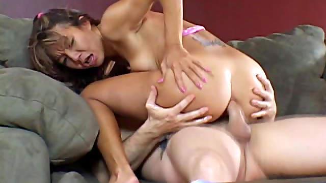 Sweet Asian babe swallows cum after anal sex