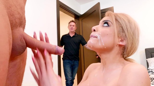 Wife throats and swallows while her hubby is in the other room