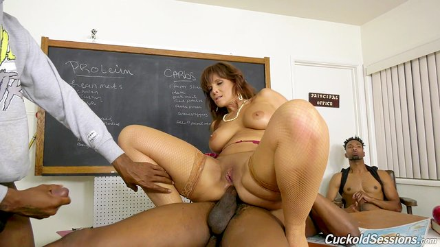 Cuckold watches as Syren Demer gets drilled by young black men