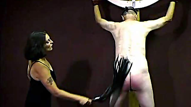 His bare ass and back are flogged hard