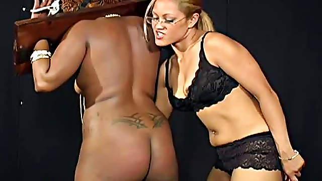 Kinky black BBW slut gets tortured by female dominatrix