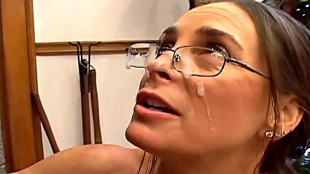 Milf in sexy glasses sucks BBC