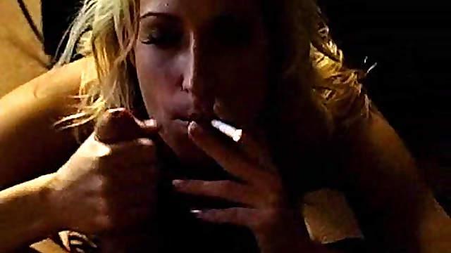 Smoking fetish blowjob gives him an orgasm