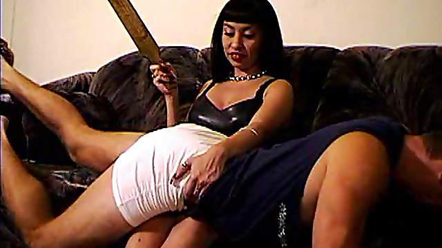 Sweet brunette is spanking ass of her boyfriend