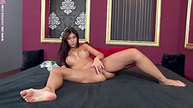 Muriel a big titty gal in thong fingers hers twat till orgasm